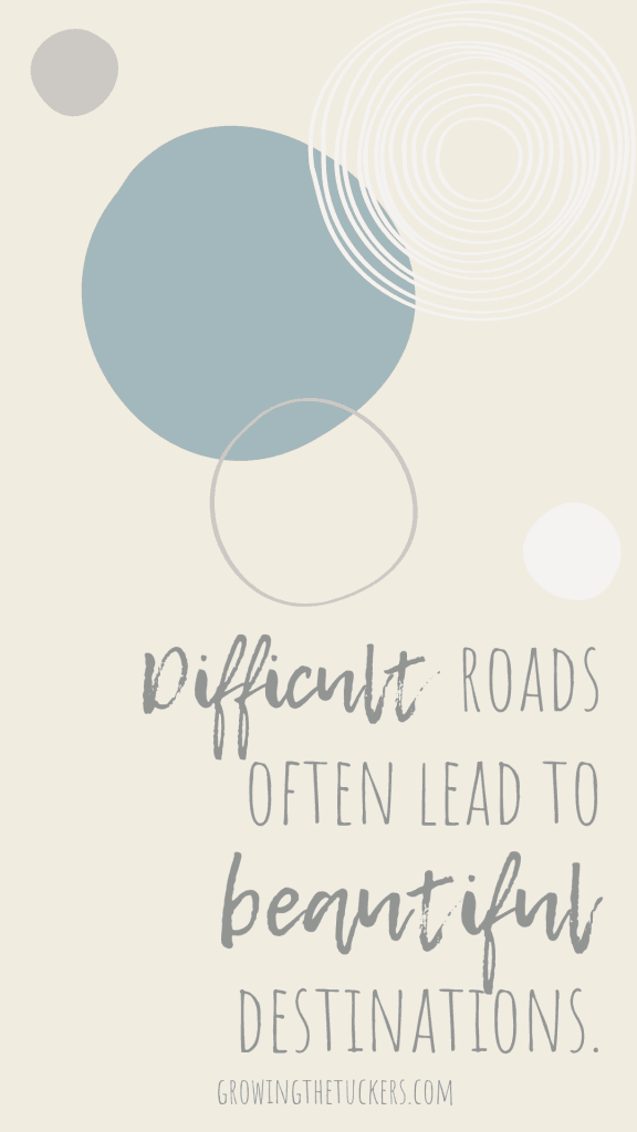 Inspirational Quote - Difficult roads often lead to beautiful destinations. Growing the Tuckers