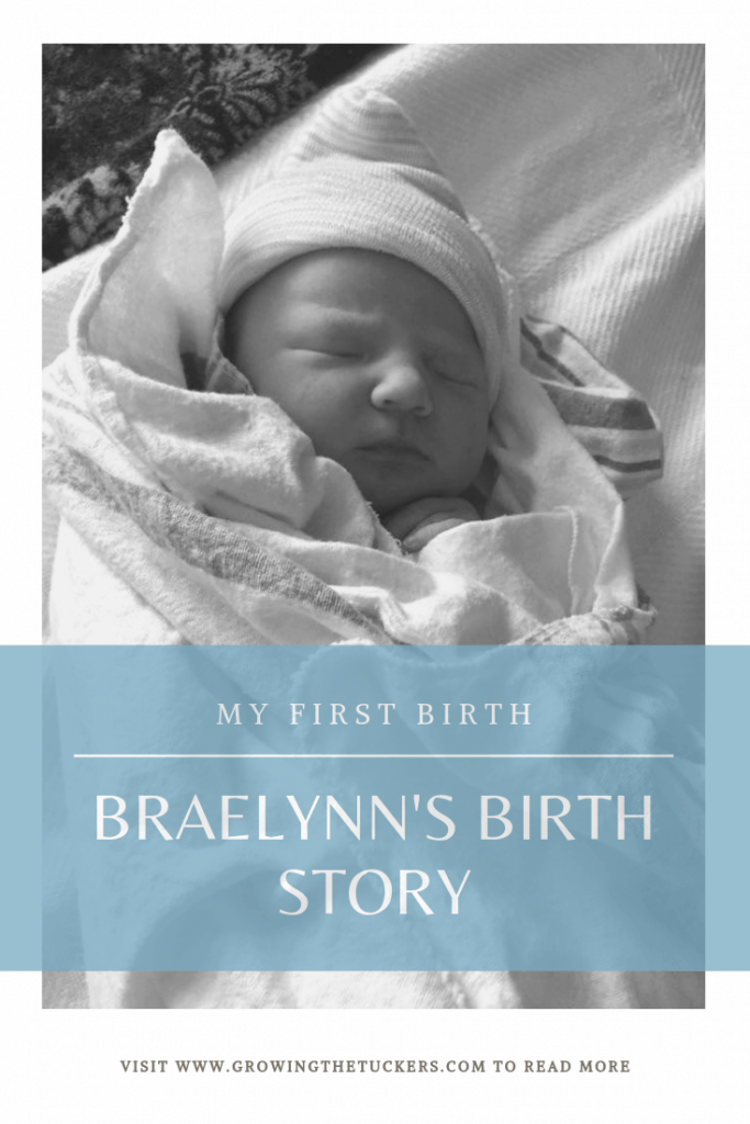 Braelynn's Birth Story Pinterest image with baby in the background.
