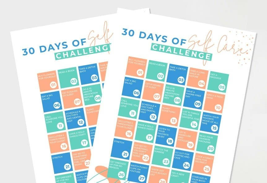 self care checklist 30 days of ideas by get green be well