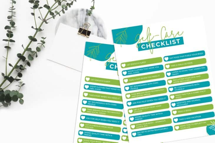 self care checklist printable by moms who save